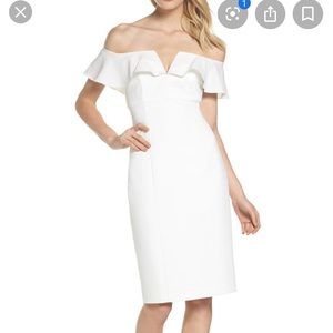 Vince camuto Off the shoulder white midi dress